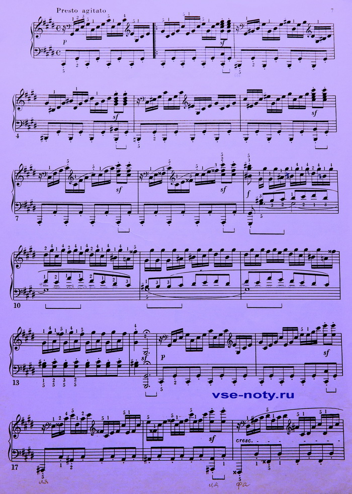 Бетховен Лунная соната ноты
