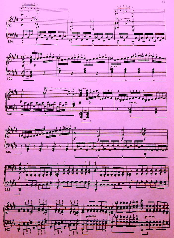 Лунная соната Бетховена, ноты для фортепаино