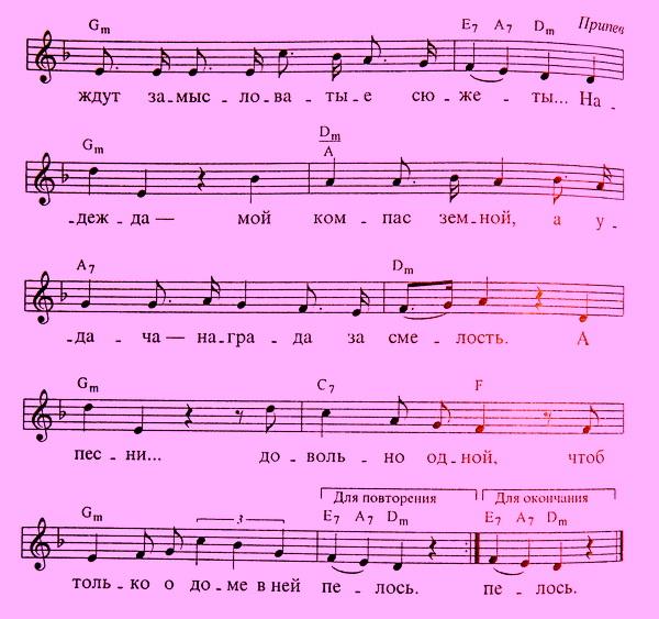 Ноты песни Надежда
