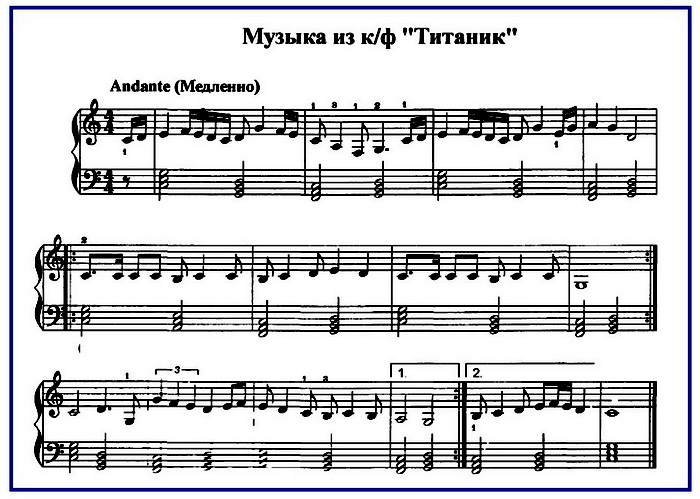 Титаник ноты для фортепиано для начинающих